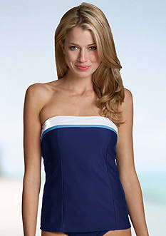 Anne Cole Signature® Colorblocked pique bandeau tankini