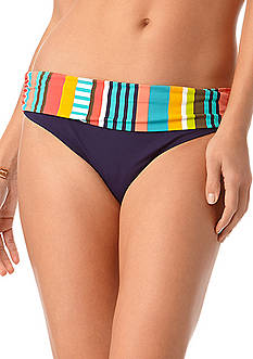 Anne Cole Signature Tropication Stripe Foldover Midrise Bottom