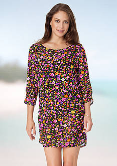 Anne Cole Signature Rosebud Mesh Tunic Cover-Up