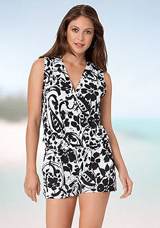 Anne Cole Signature Antigua Paisley V Neck Romper Cover Up
