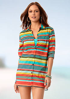 Anne Cole Signature Tropication Stripe Boyfriend Shirt