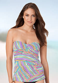 Anne Cole Signature Rainbow Arches Twist Front Shirred Bandeaukini