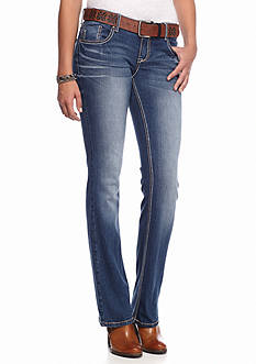 Red Camel Belted Frayed Embroidered Bootcut Jean