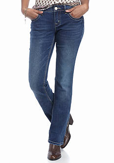 Red Camel Back Flap Embroidery Boot Jeans