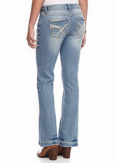 Red Camel Flare Leg Embroidered Jean