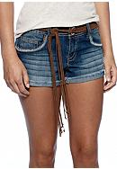 Red Camel® Raw Edge Cuffed Jean Shorts with Belt