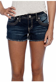 Red Camel Frayed Hem Jean Shorts