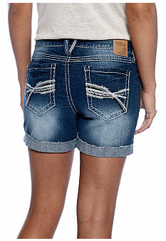 Red Camel Raw Edge Cuffed Shorts with Embellished Pockets