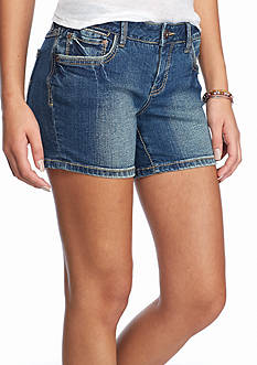 Red Camel Embroidered Denim Shorts