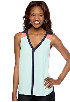 Pure Sugar Color Block Sleeveless Blouse