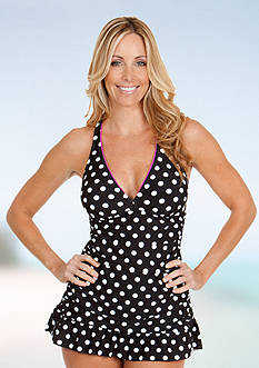 New Directions® Polka-Dot Shirred Swim Dress