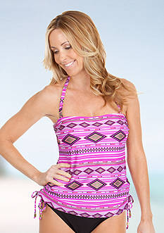 New Directions® Diamond Print Side Adjustable Bandokini