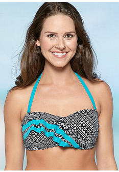 New Directions Tiki Diamond Ruffle Bandeau Top