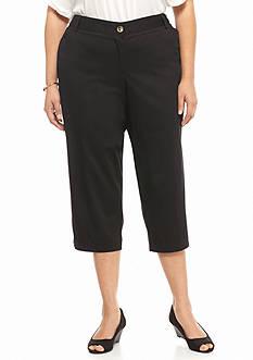 Kim Rogers Plus Size Solid Twill Capri