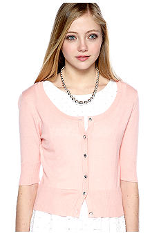 Heart & Crush Jewel Button Scoop Neck Cardigan