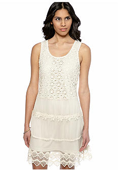 RYU Lace Overlay Tiered Dress