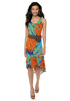 Madison Jungle Print Hi-Lo Belted Dress