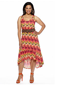 Madison Plus Size Hi-Lo Belted Dress