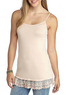Living Doll Spandex Tank with Mesh Embroidery