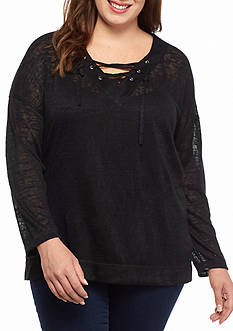 Living Doll Plus Size Laceup Neckine Sweatshirt