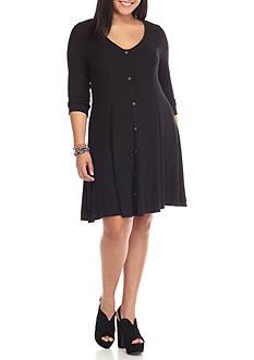 Living Doll Plus Size Rib Knit Solid Dress