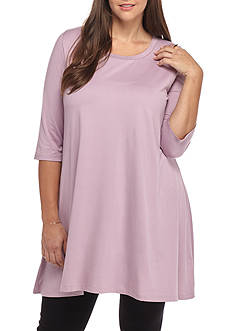 Living Doll Plus Size Solid Swing Tunic