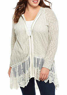 Living Doll Plus Size Zip Up Lace Hem Hoodie