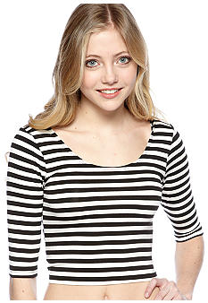 Living Doll Stripe Short Sleeve Crop Top