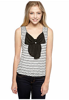 Living Doll Striped Bow Trim Tank Top