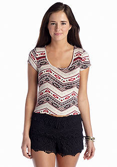 Living Doll Tribal Chevron Crop Tee