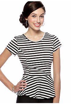 Living Doll Stripe Ponte Peplum Top