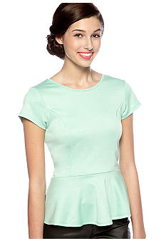 Living Doll Short Sleeve Ponte Peplum