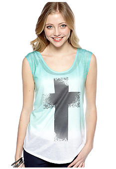 Living Doll High Low Cross Screen Print Top