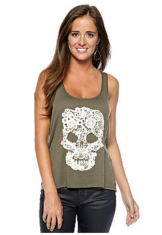 Living Doll Skull Applique High Low Tank