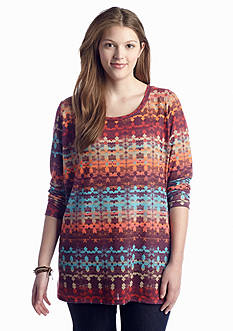 Living Doll Plus Size Smudged Bayadere Knit Top