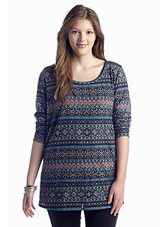 Living Doll Plus Size Bayadere Print Top