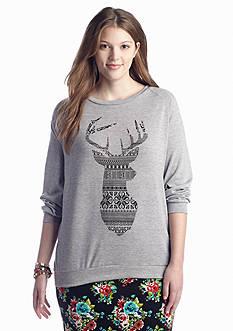 Living Doll Plus Size Winter Deer Sweatshirt