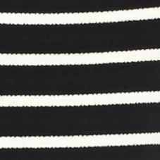 Juniors: Knit Sale: Black/Ivory Living Doll Striped Knit to Woven Top