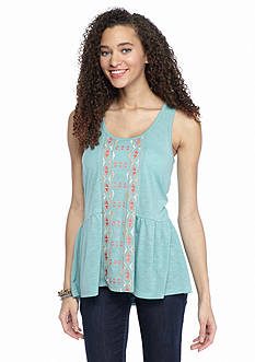 Living Doll Embroidered Peplum Tank