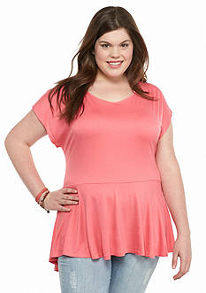 Living Doll Plus Size Peplum Keyhole Back Top