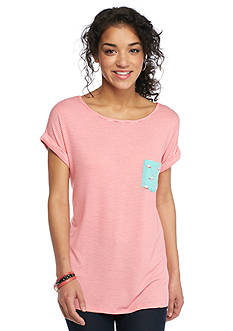 Living Doll Striped Flamingo Screened Pocket Tee