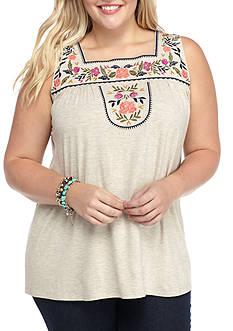 Living Doll Plus Size Embroidery Bib Squank Tank Shirts