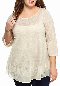Living Doll Plus Size Lace Hem 2Fer Top