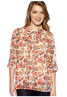 Living Doll Roll Sleeve Western Style Floral Shirt