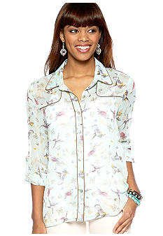 Living Doll Roll Sleeve Printed Western Style Shirt