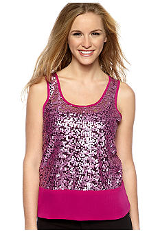 Living Doll Exposed Zip Sequin Tank