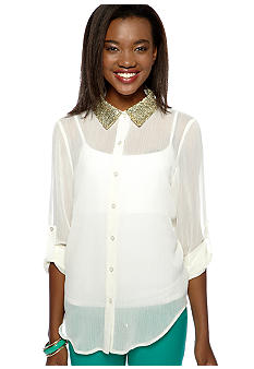 Living Doll Sequin Collar Button Front Shirt