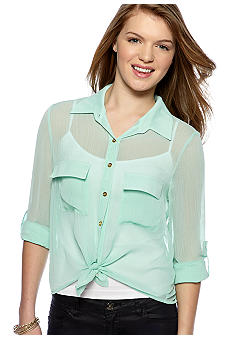 Living Doll Roll-Sleeve Button Front Shirt