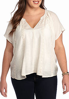 Living Doll Plus Size Lace Trim Top