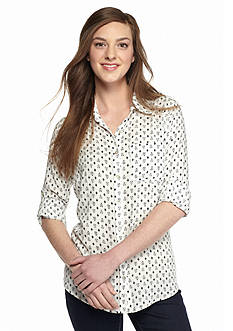 Living Doll Tile Printed Button Front Shirt